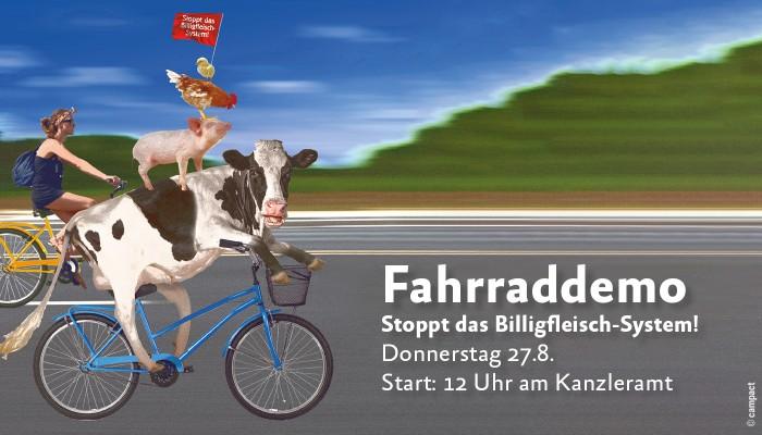 mit Fahrrad gegen die Fleischindustrie